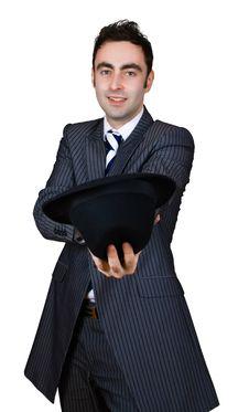 Free Retro Businessman Come Cap In Hand Stock Photo - 8364820