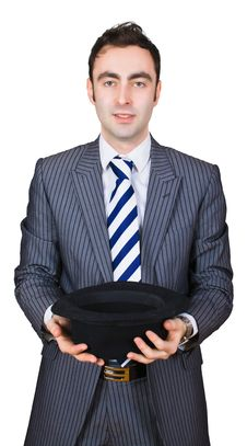 Free Retro Businessman Come Cap In Hand Royalty Free Stock Photos - 8364848