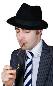 Free Retro Businessman Light A Cigarette Stock Photography - 8365052