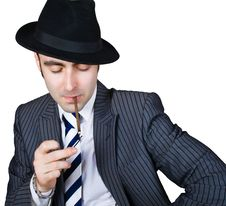 Free Retro Businessman Light A Cigarette Royalty Free Stock Image - 8365086