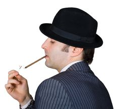 Free Retro Businessman Light A Cigarette Stock Image - 8365101