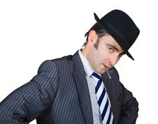 Retro Businessman Smoke A Cigarette Royalty Free Stock Photos