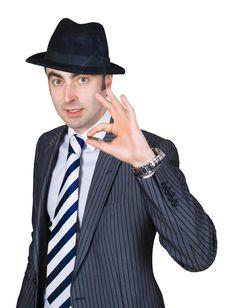 Free Retro Businessman Smoke A Cigarette Royalty Free Stock Image - 8365186
