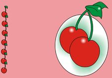 Free Cherry On A Pink Background Royalty Free Stock Photo - 8365215