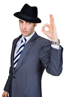 Retro Businessman Show Sing Ok Royalty Free Stock Images