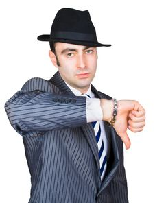 Free Retro Businessman Show Sing Stock Photo - 8365270