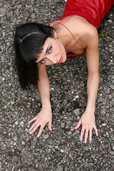 Free Girl Lay In Stones Stock Photos - 8365493