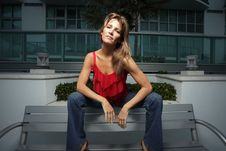 Woman On A Bench Stock Photography