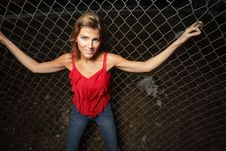 Free Woman On A Fence Stock Image - 8366131