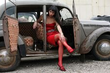 Girl In Retro Car