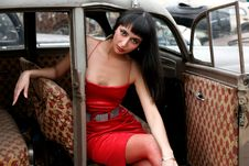 Free Girl In Old Car Royalty Free Stock Image - 8366936