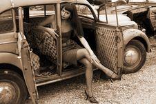 Free Brunette At Car Stock Image - 8366991