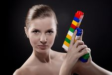 Free Woman With Toy Gun Royalty Free Stock Image - 8368106