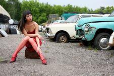 Girl At Retro Cars Royalty Free Stock Photo
