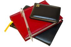 Free Three Notebooks (organizers) And Jell Pen. Stock Photography - 8368772
