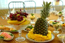 Free Fruits And Salads On Holiday Table. Royalty Free Stock Photo - 8369035