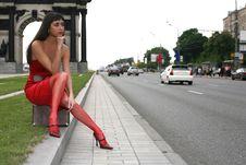 Free Girl Sit Atop Suitcase Royalty Free Stock Photos - 8369208