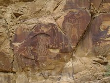 Indian Petroglyphs In Wyoming Royalty Free Stock Photo