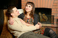 Free Young Couple Near Fireplace Stock Photos - 8376173
