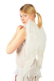 Free Turned Back Girl In Angel S Costume Stock Photo - 8370290