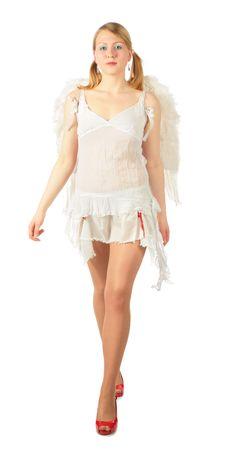 Girl In Angel S Costume Full Body Goes Stock Photography