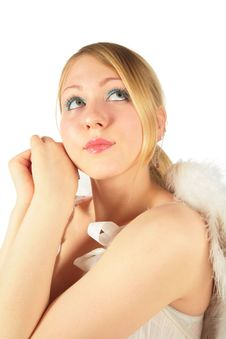 Free Portrait Of Blonde Girl In Angel S Costume Royalty Free Stock Photo - 8370395