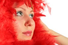 Free Portrait Of Girl In Red Feathers Stock Image - 8370421