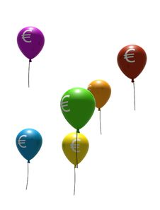 Multicolored Balloons With Euro Symbols Stock Image