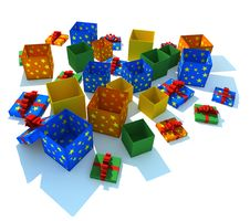 Free Opened Multicolor Gift Boxes Stock Photo - 8370520