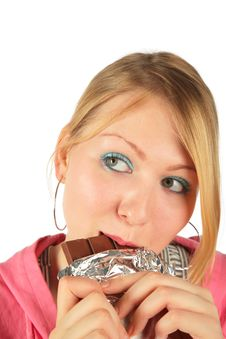Free Young Girl In Eats Chocolate Stock Images - 8370534