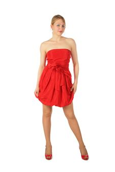Free Young Blonde Girl In Red Dress And Shoes Royalty Free Stock Photos - 8370558