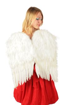 Blonde Girl In Red Dress With  Angel S Wings
