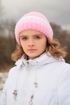 Free Face Of Young Beauty Girl In Winter Stock Photo - 8370630
