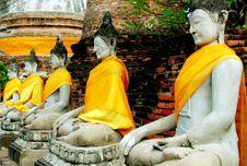 Free Ayutthaya, Thailand: Wat Yai Chai Mongkhon Buddhas Royalty Free Stock Photos - 8371368