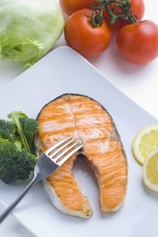 Fresh Salmon Cooked With Salad