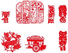 Free Paper-cut Set Two Royalty Free Stock Photography - 8372497