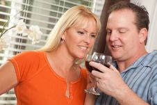 Happy Couple Enjoying Wine Stock Image