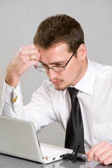 Handsome Young Businessman Working Stock Image