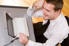 Handsome Young Businessman Working Stock Photos