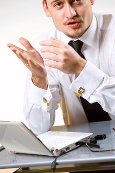 Handsome Young Businessman Working Stock Images