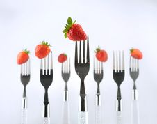 Free Strawberry With Fork Royalty Free Stock Images - 8374219