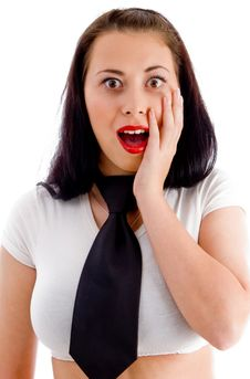 Cute Surprised Female Posing Stock Photography