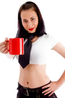 Free Beautiful Young Woman Showing Red Coffee Cup Royalty Free Stock Images - 8375619