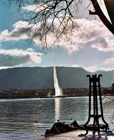 Lake Leman Water Jet In Geneva Stock Photos