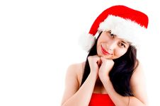Free Beautiful Young Woman In Christmas Hat Smiling Stock Photo - 8375730