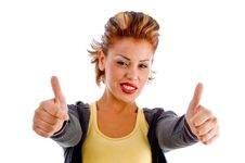 Sexy Woman Showing Approval Sign With Both Hands Stock Photo