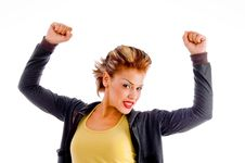 Free Close Up Of Attractive Woman In Winning Gesture Stock Photo - 8375920