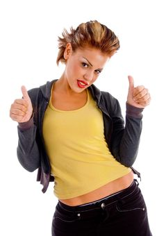 Free Attractive Woman Showing Good Sign With Both Hands Stock Image - 8375941