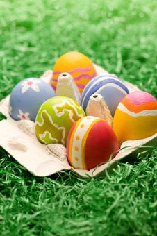 Free Box Of Rough Stroked Easter Eggs Royalty Free Stock Photography - 8376317
