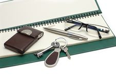 Free Diary, Glasses And Keys Royalty Free Stock Image - 8376576